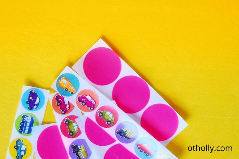 cut stickers into strips to make it easier for toddler