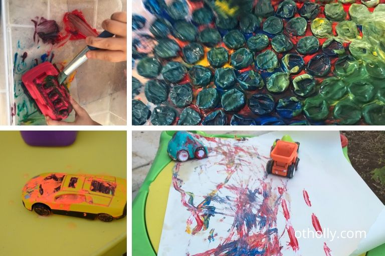 toddlers enjoy painting cars and bubble wrap