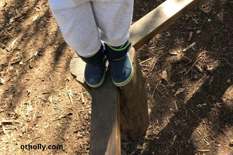 toddler on balance beam