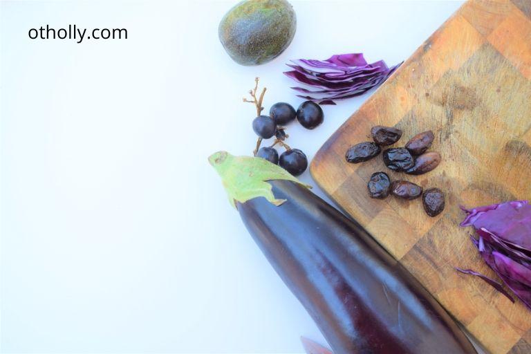 assortment of purple foods