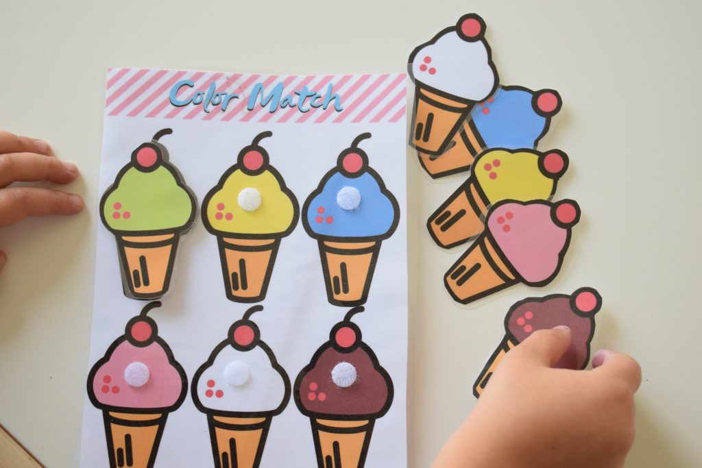 color matching ice cream activity for toddlers