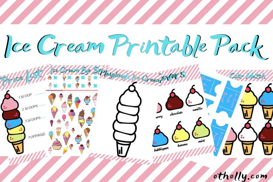 Ice cream printable activity pack advert