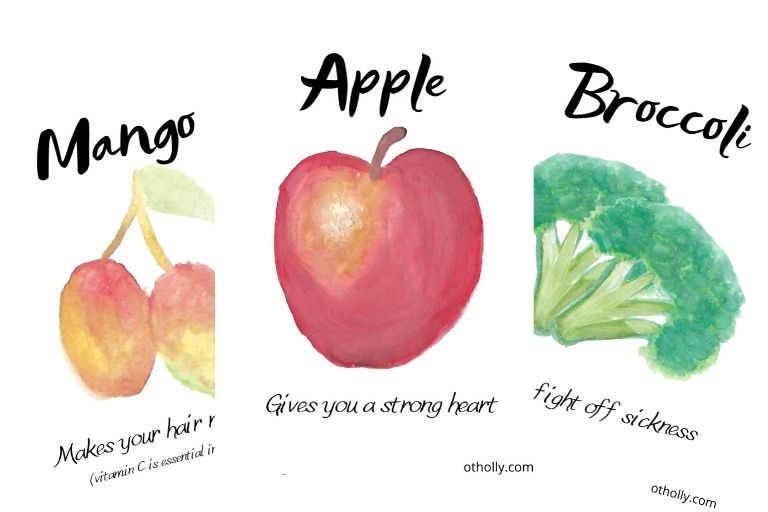 Flash cards for kids eat healthy