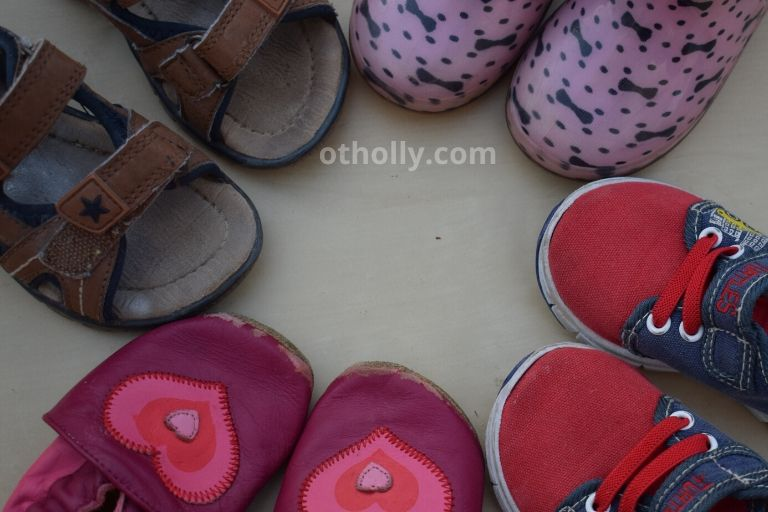 photo of several pairs of toddler summer shoes