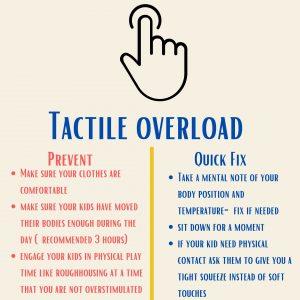 Ideas to prevent tactile sensory dysregulation