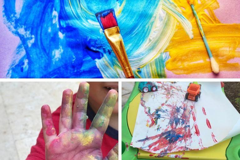 Toddler paints activities using finger paint